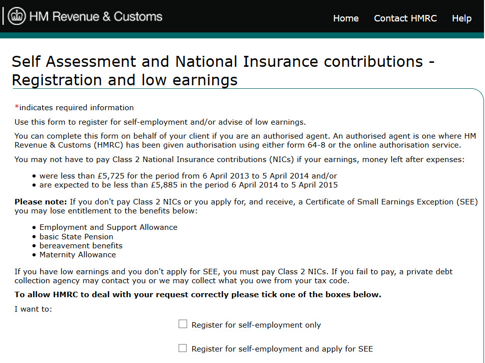Self Employed Form Register