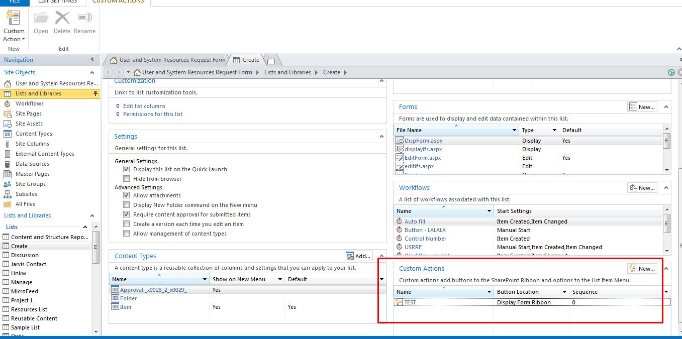 Sharepoint Designer Form Action Button