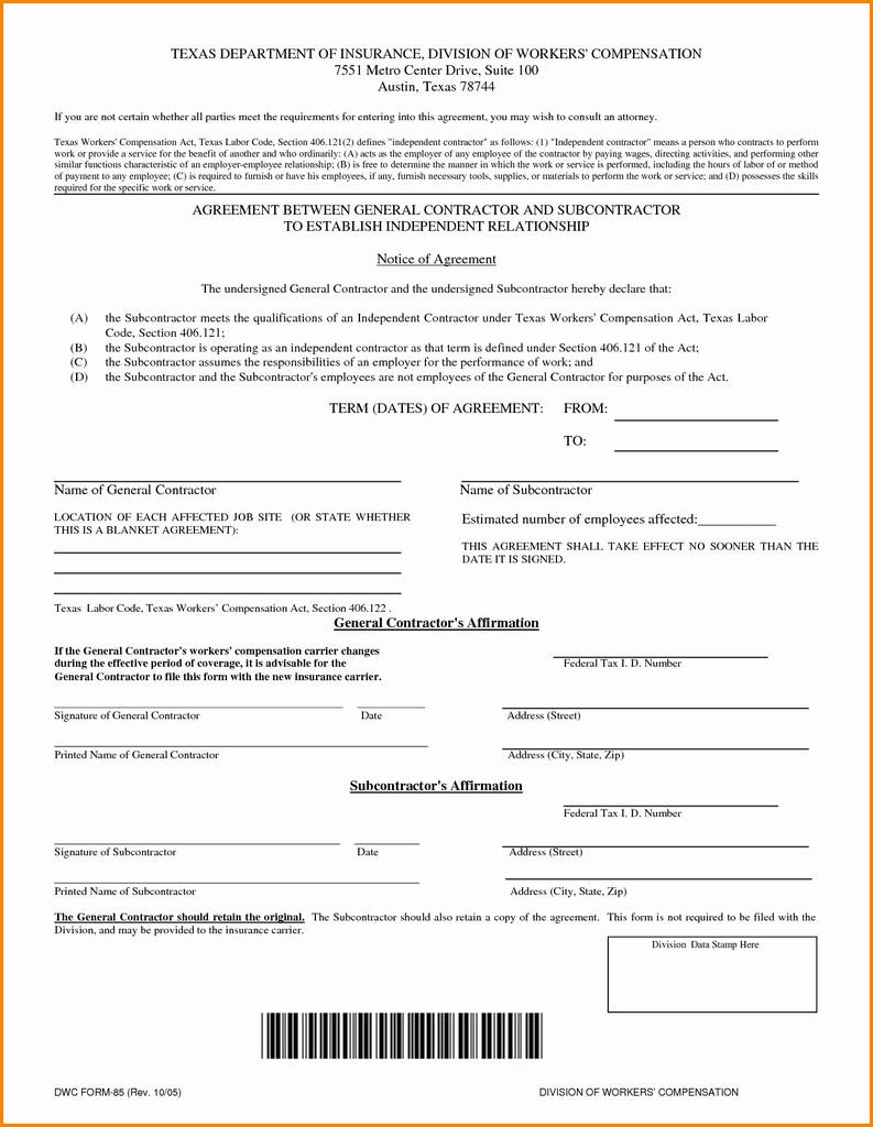 Short Form Subcontract Agreement Lovely Form Templates Contractor Tax Exempt How To Fill Out W Line