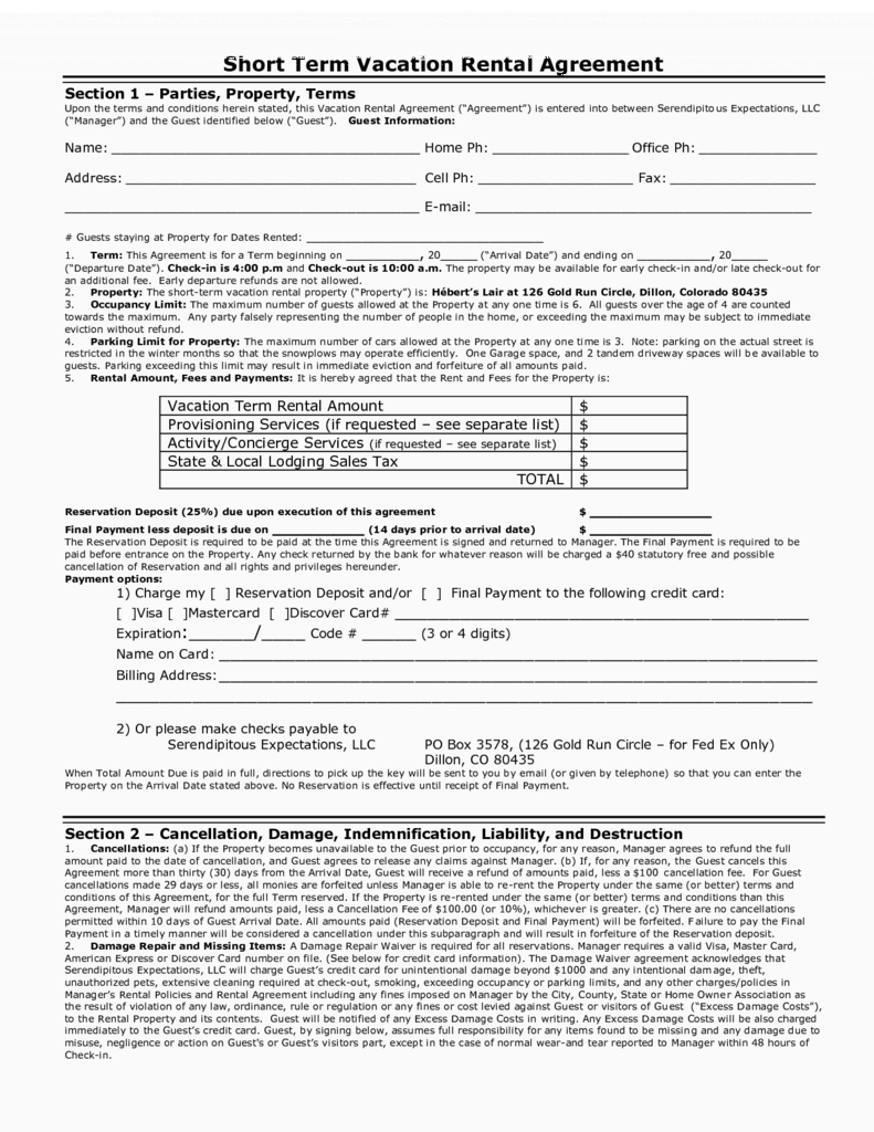 Short Term Rental Agreement Form Florida