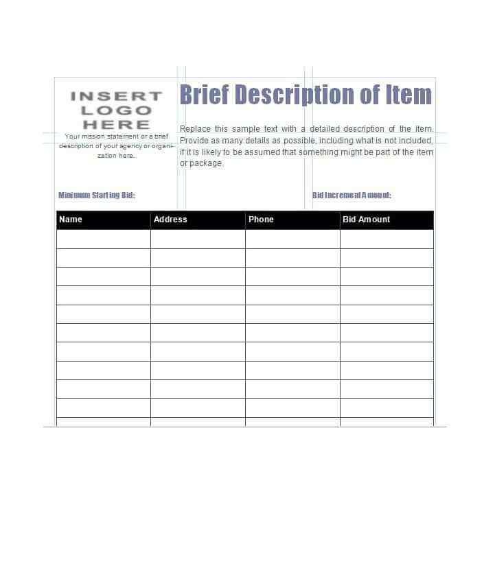 Silent Auction Bid Sheet Excel