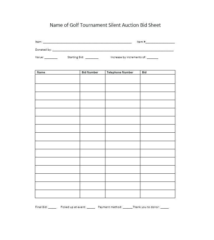 Silent Auction Bid Sheet Word Doc