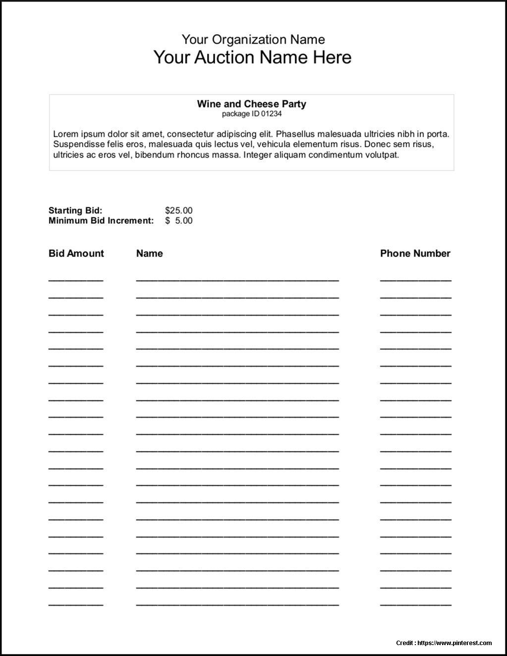 Silent Auction Bidding Sheet Sample