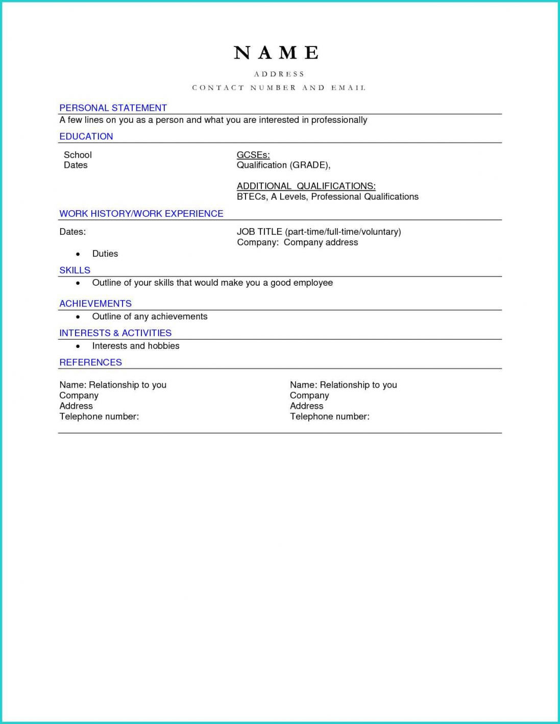 Resume Format Download Pdf Cv Simple Blank For Sradd