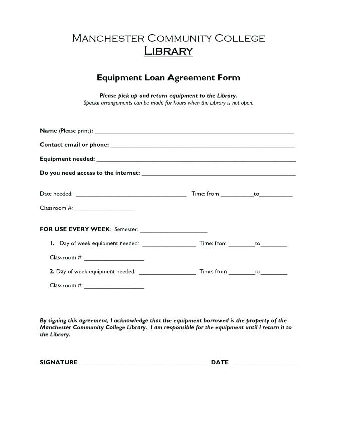 Simple Equipment Loan Agreement Form