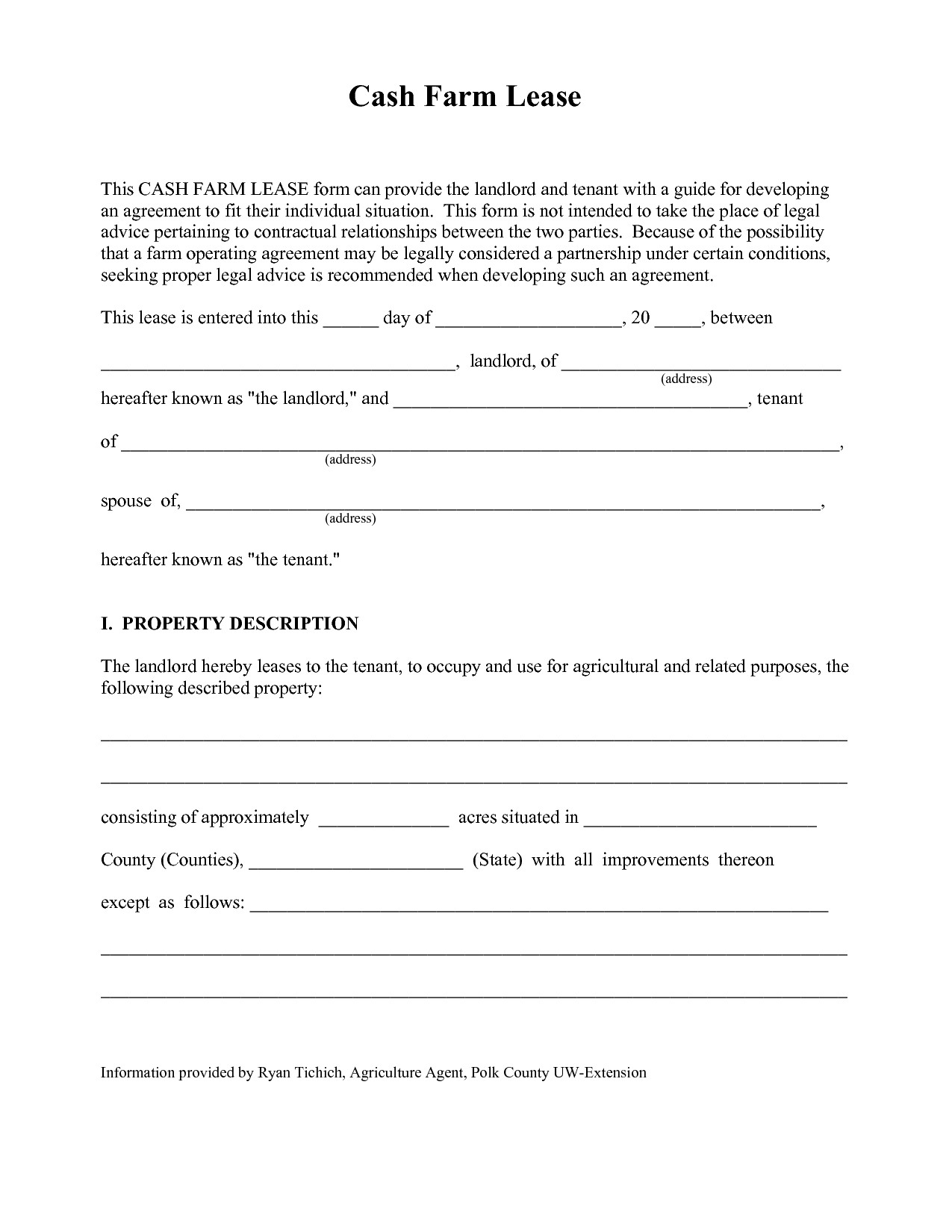 Simple Farm Land Lease Agreement Form