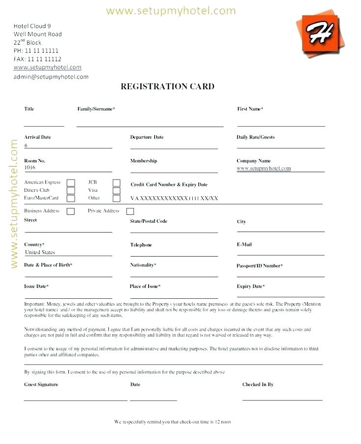 Simple Hotel Guest Registration Form Template