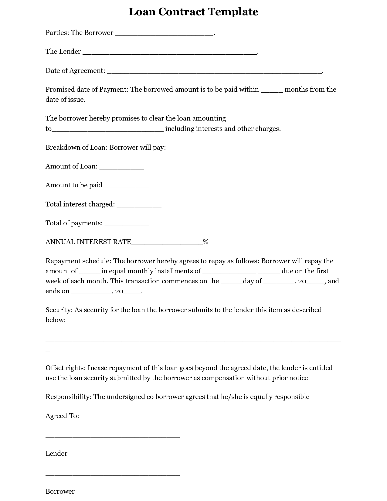 Simple Loan Agreement Form Template