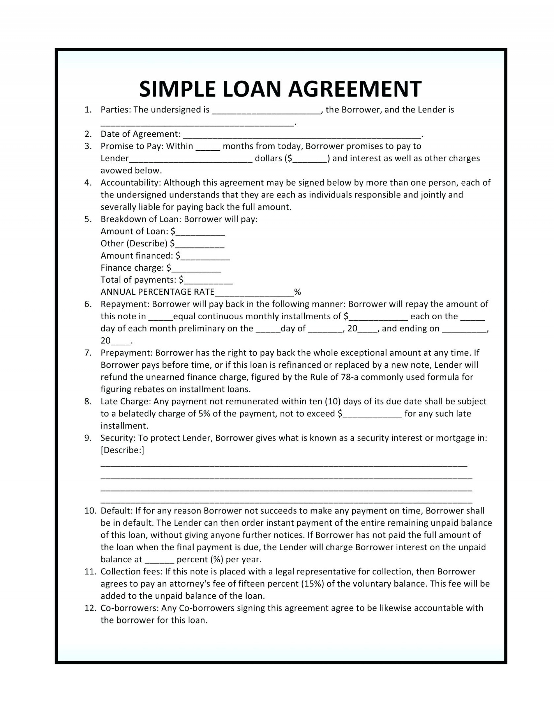 Collateral Agreement Template Bet Contract Unique Simple Loan For Loan Agreement Between Friends Example
