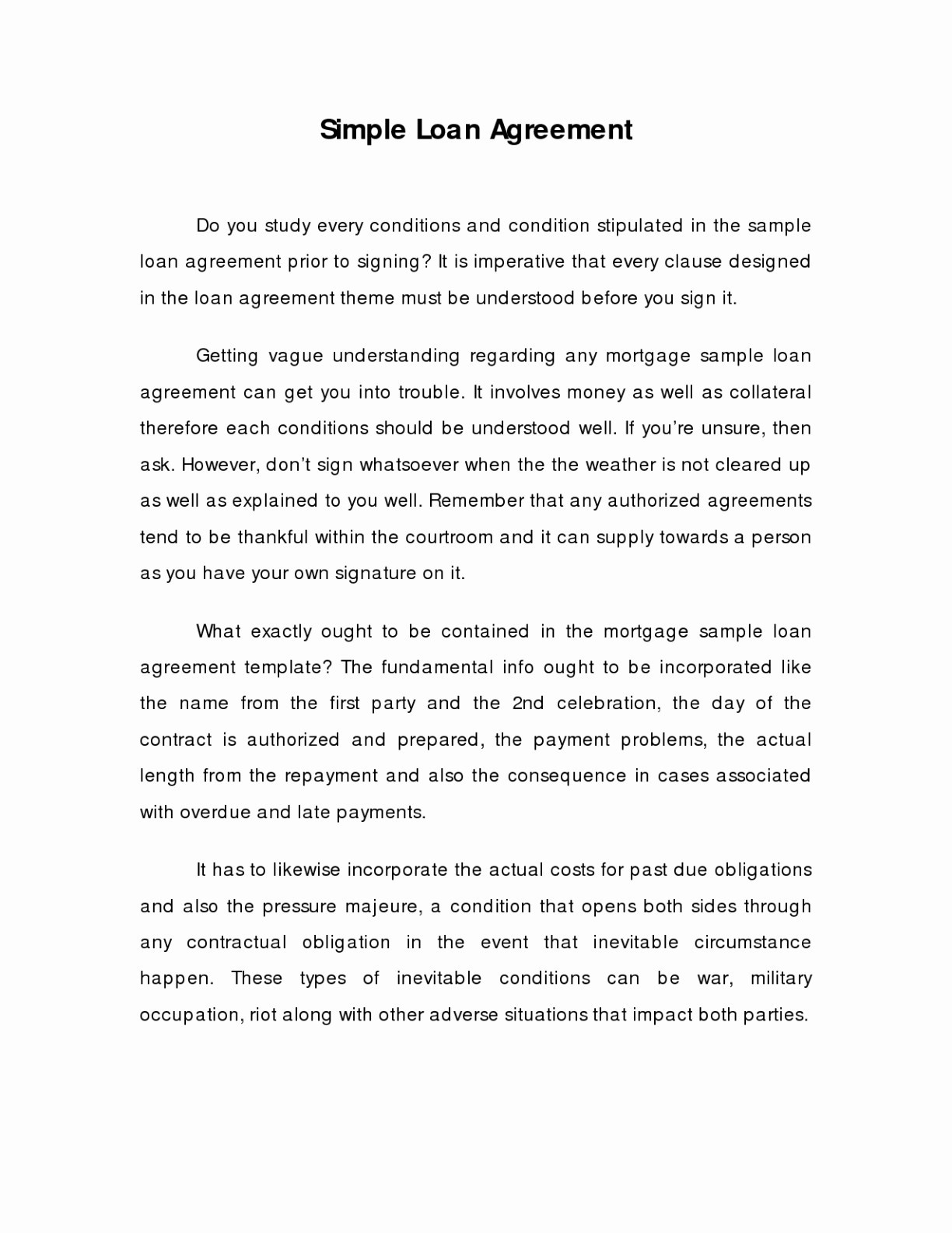 Simple Loan Agreement Template Free Loan Contract Template New With Sample Loan Agreement Letter Format