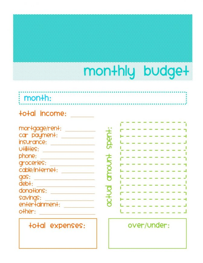Simple Monthly Budget Template Printable