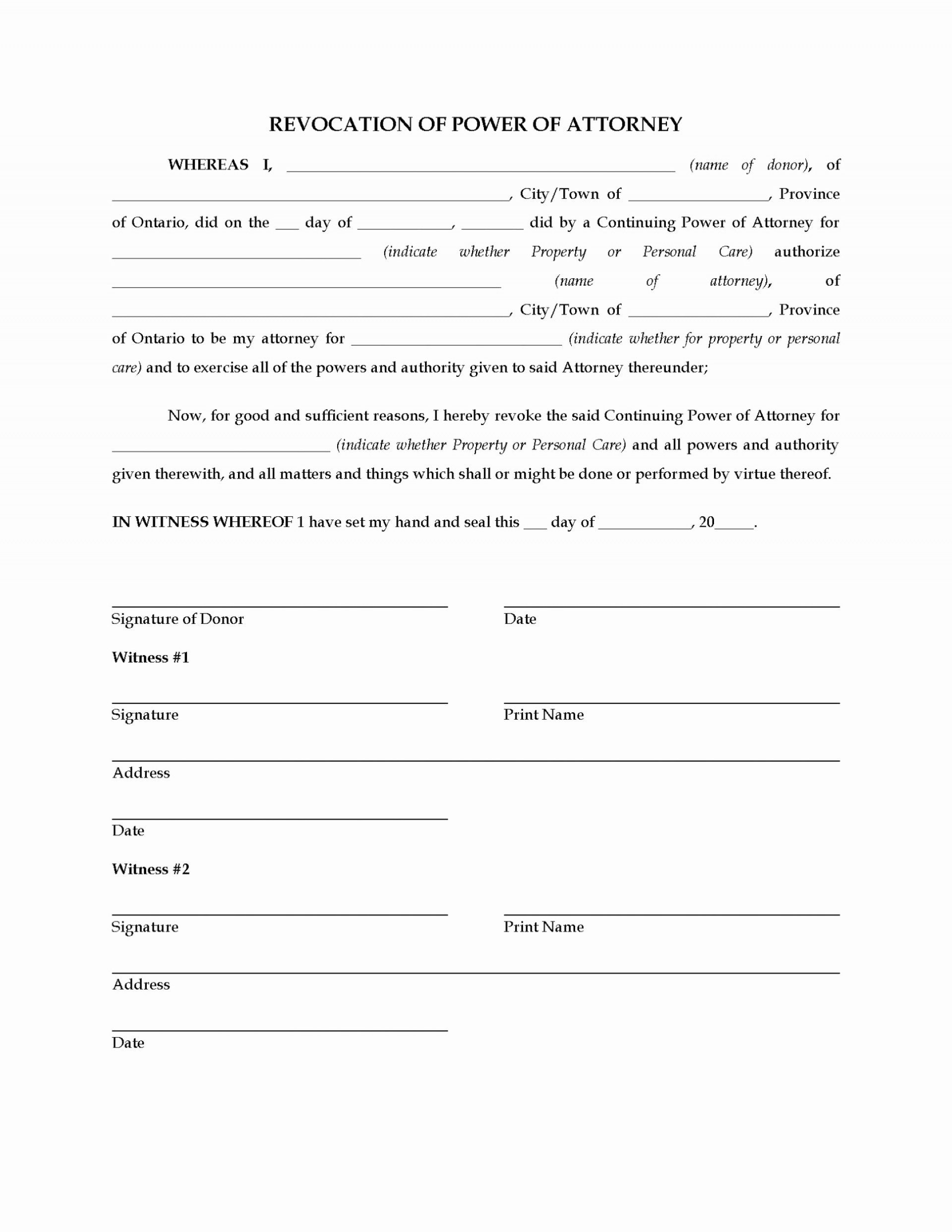 Simple Power Of Attorney Form Indiana