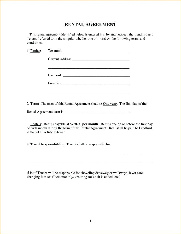 Simple Printable Rental Agreement Form