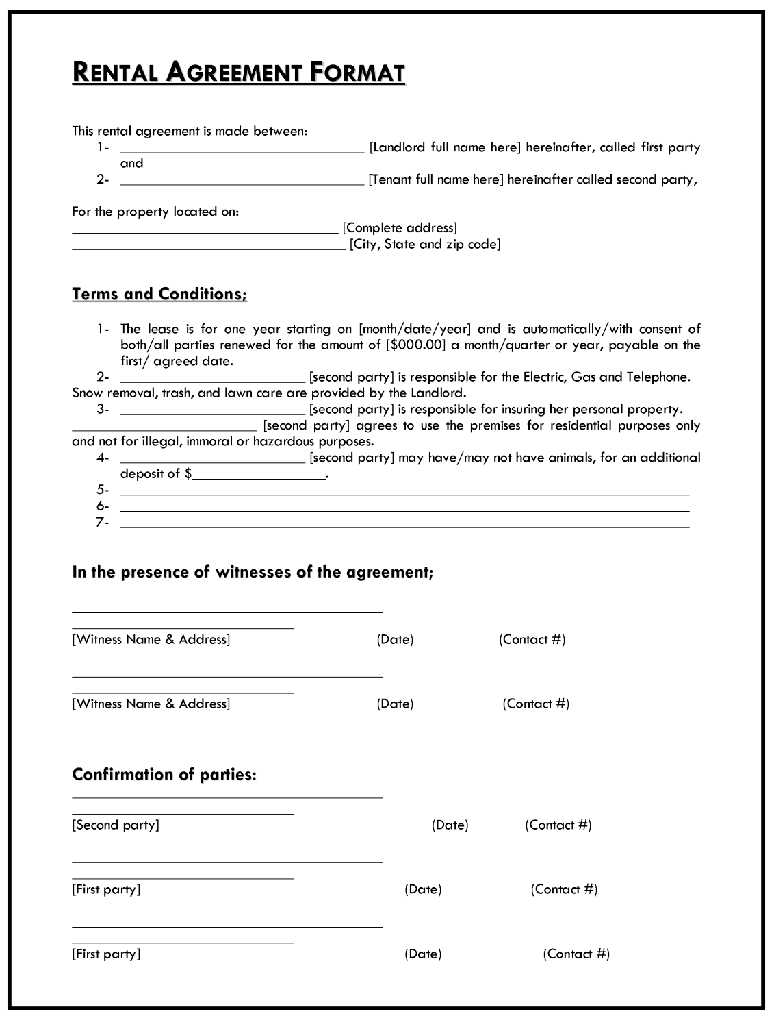Simple Rent Agreement Format Pdf