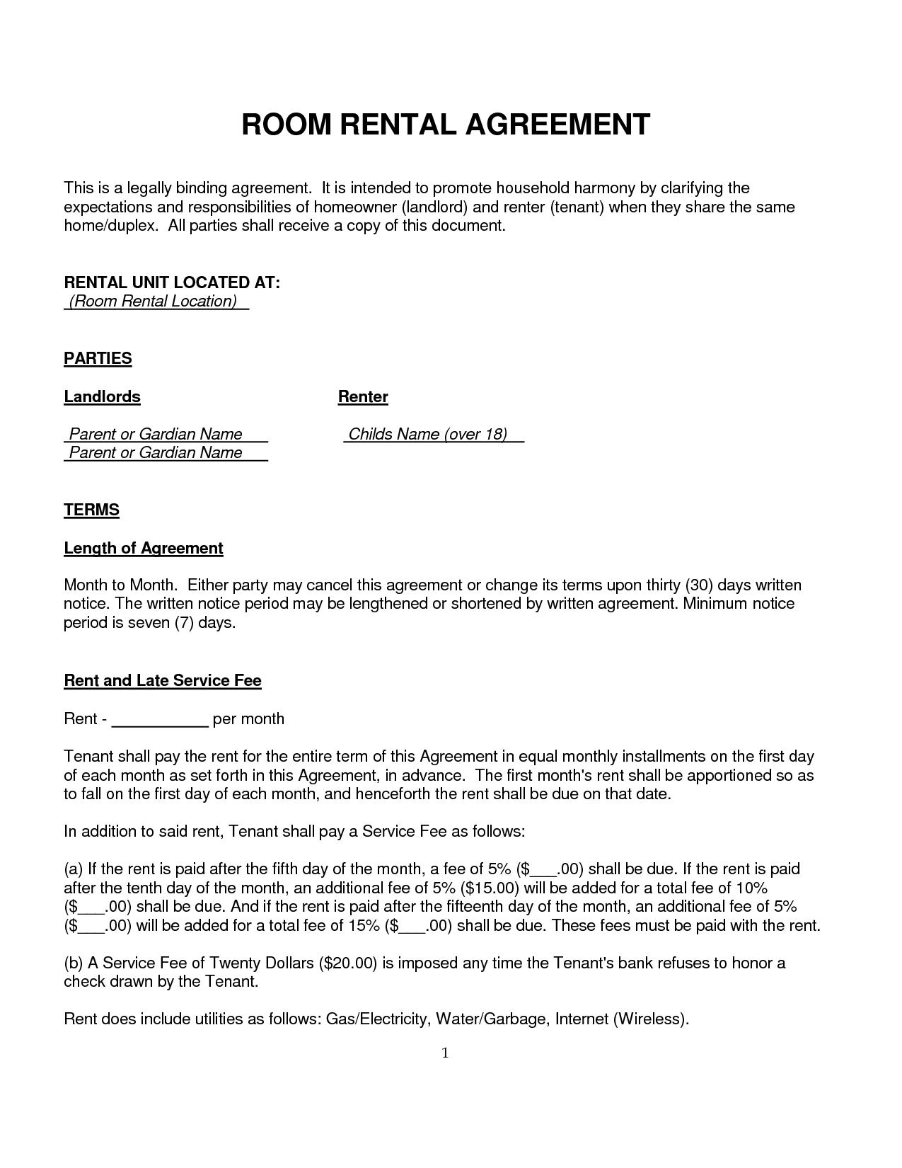 Simple Room Rental Agreement Form Free Uk