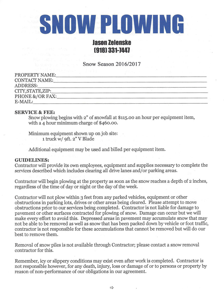Simple Snow Removal Contract Template