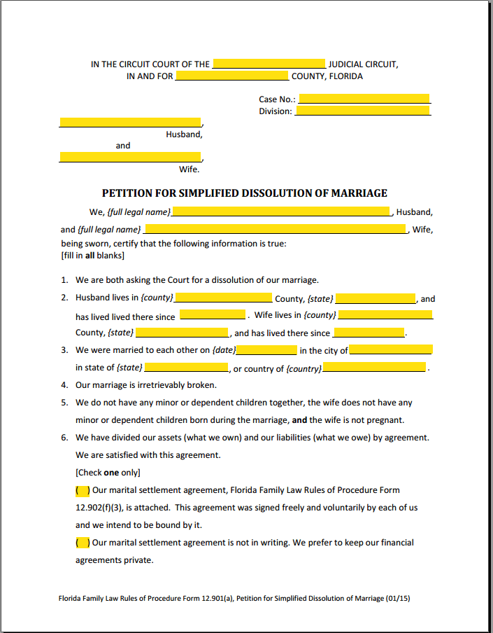 Simplified Divorce Miami Forms