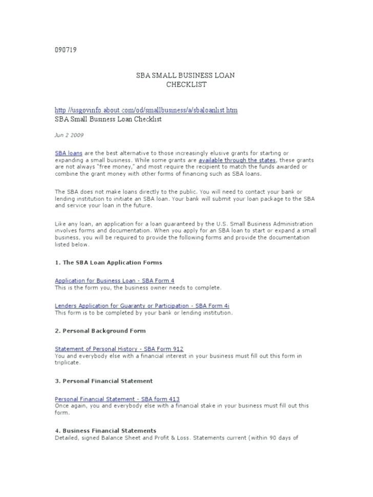 Small Business Administration Loan Application Form