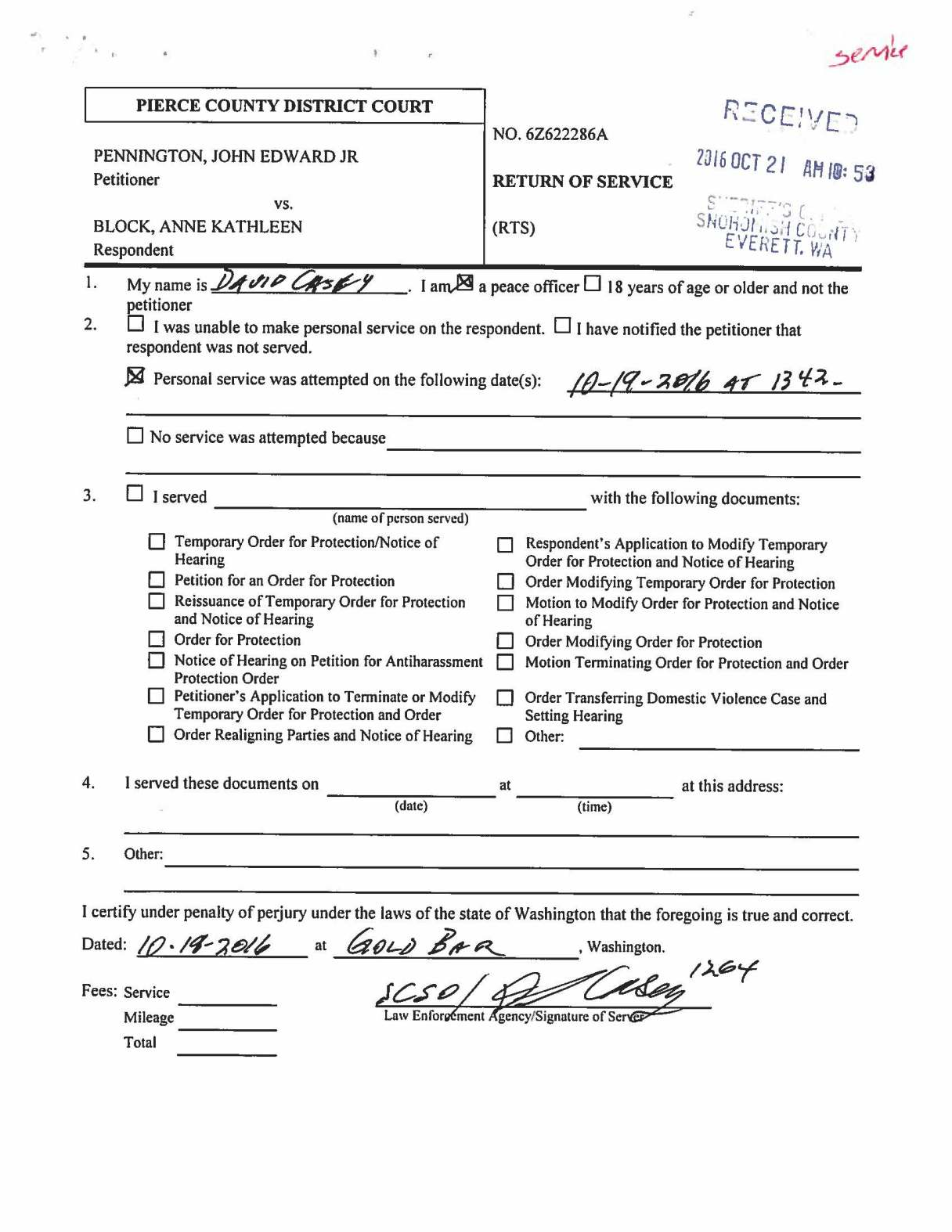 Snohomish County Court Forms Declaration
