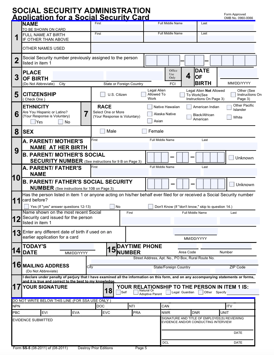 Social Security Application Form For Medicare