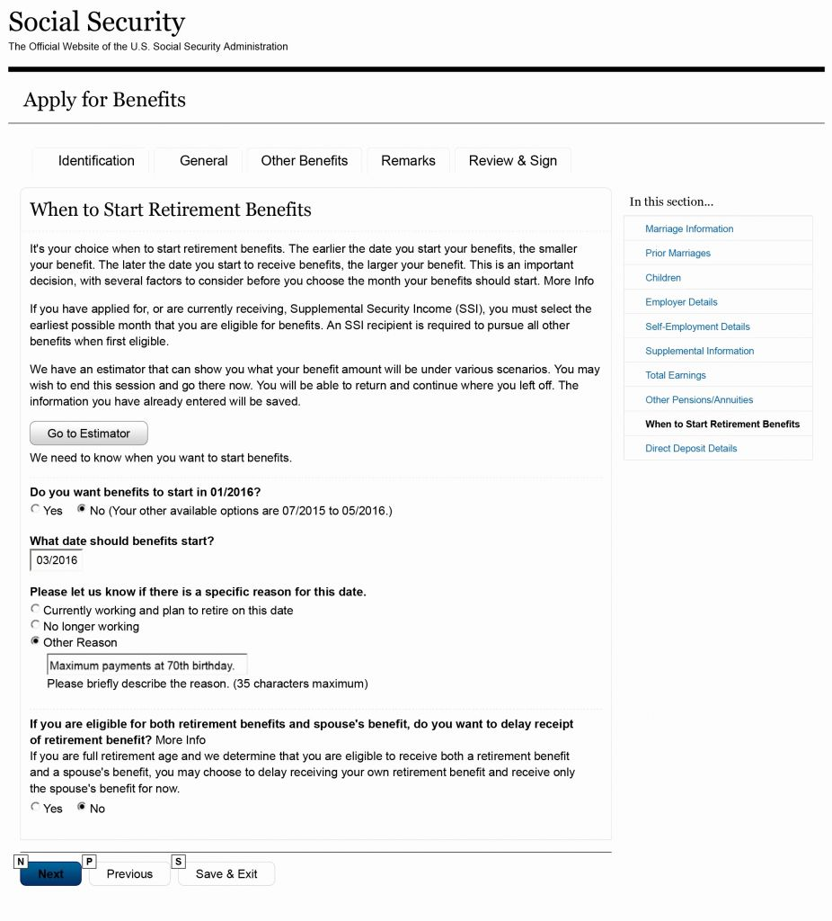 Social Security Retirement Benefits Forms