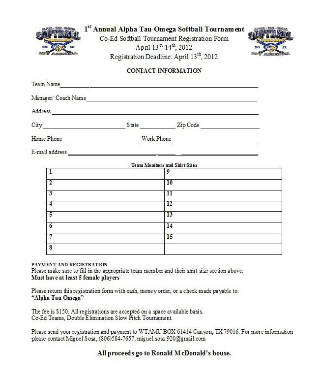Softball Tournament Registration Form Template