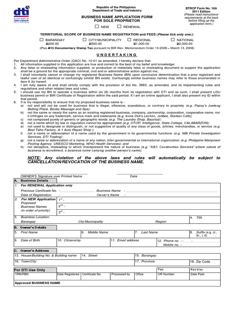 Download Dti Business Name Application Form Sole Proprietorship Inside Form Sole Proprietorship