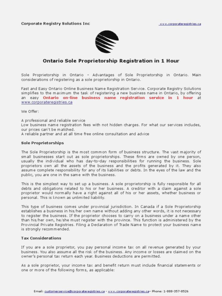 Sole Proprietorship Registration Form Ontario