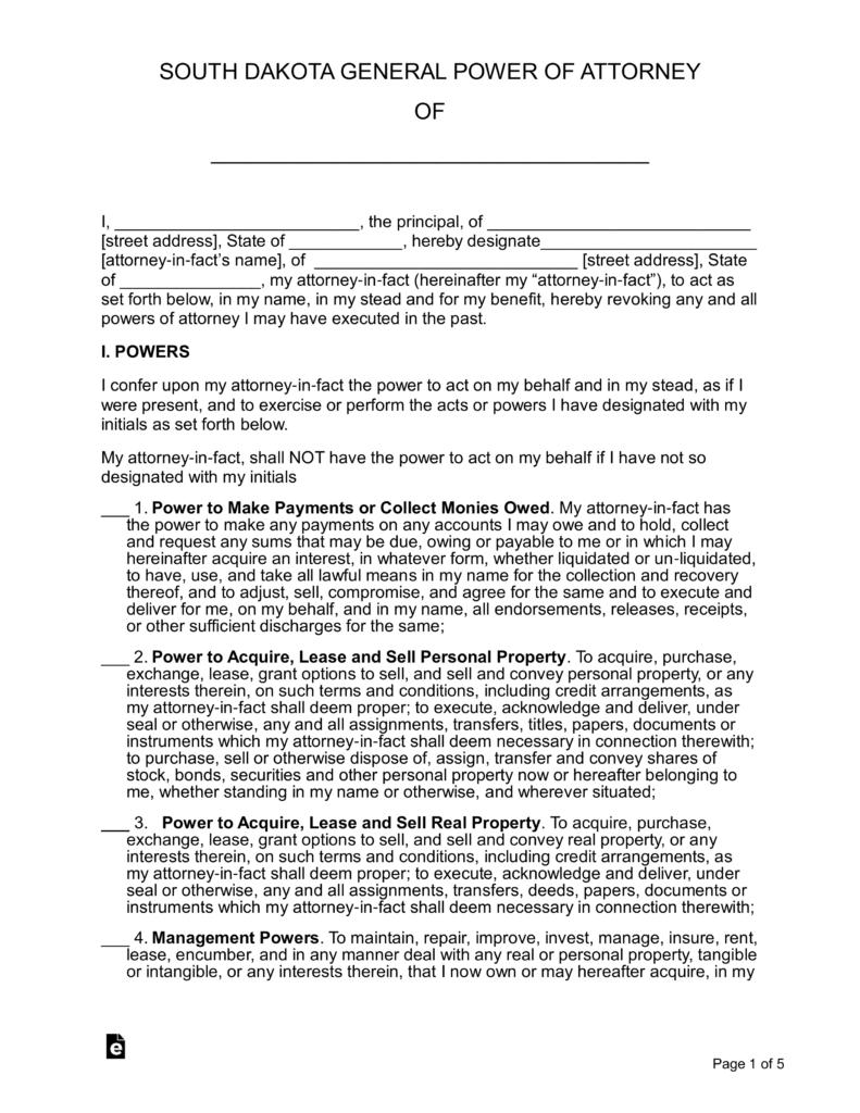 South Dakota General Power Of Attorney Form