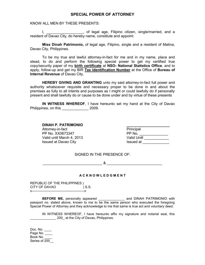 Special Power Of Attorney Form Alberta