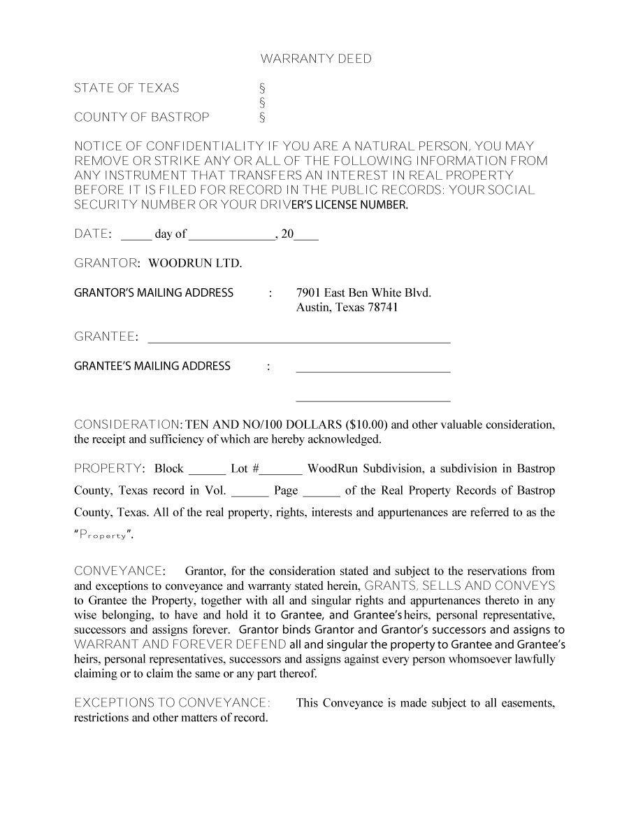 Special Warranty Deed Form Texas Free