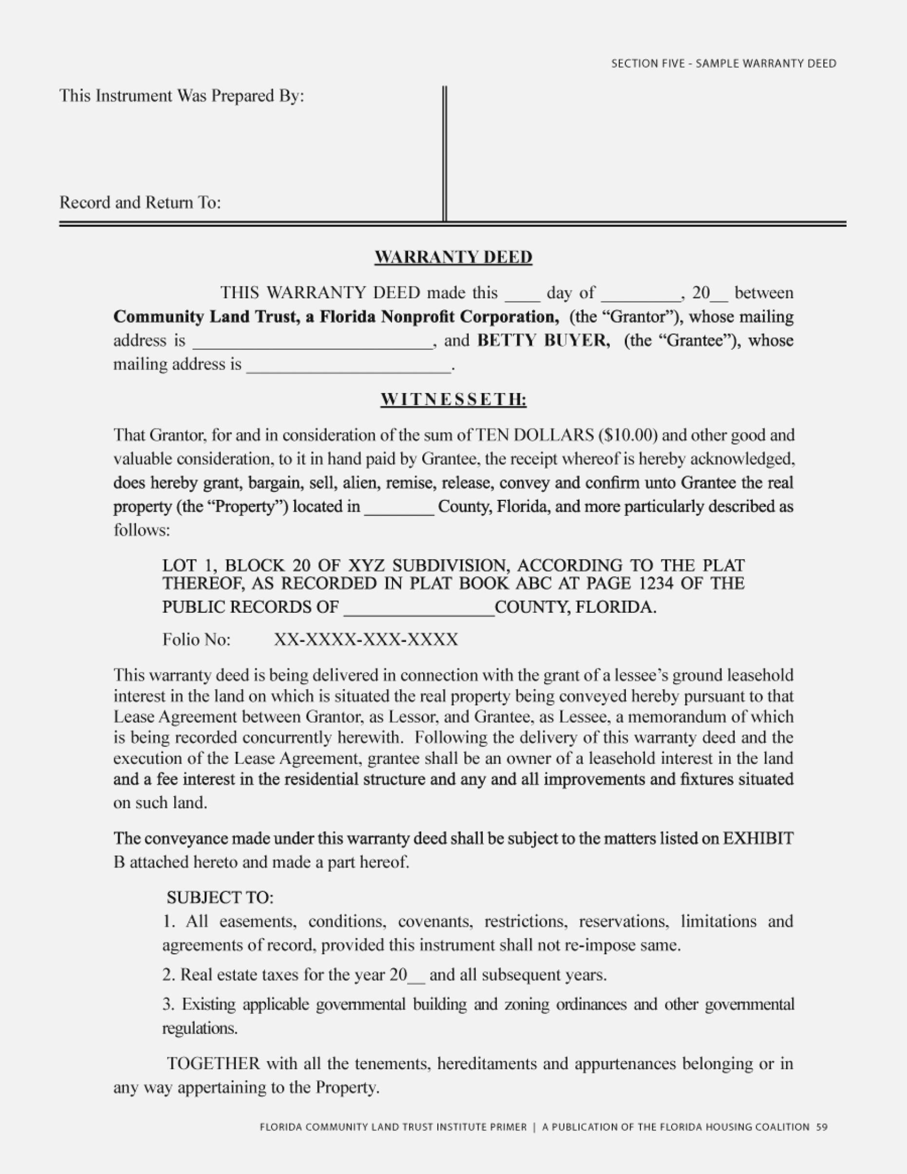 Special Warranty Deed Form Texas