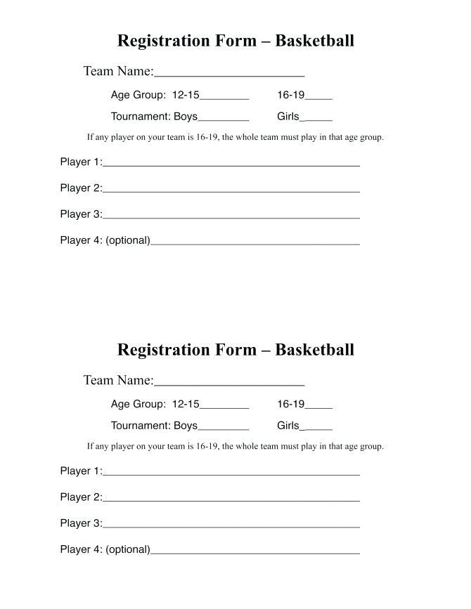 Sport Club Registration Form Template