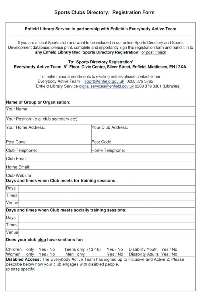 Sports Club Registration Form Template