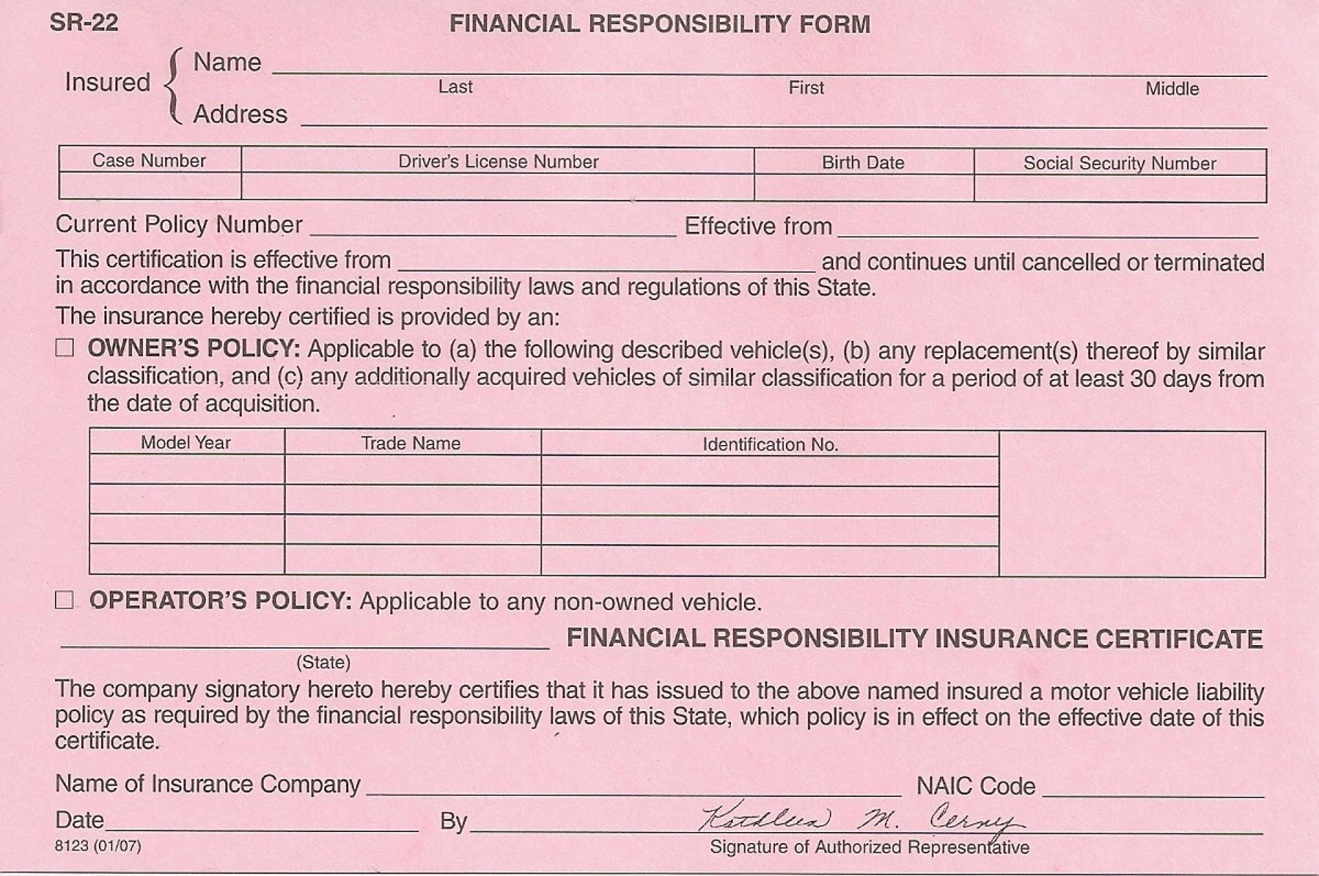 Sr22 Insurance Form Florida