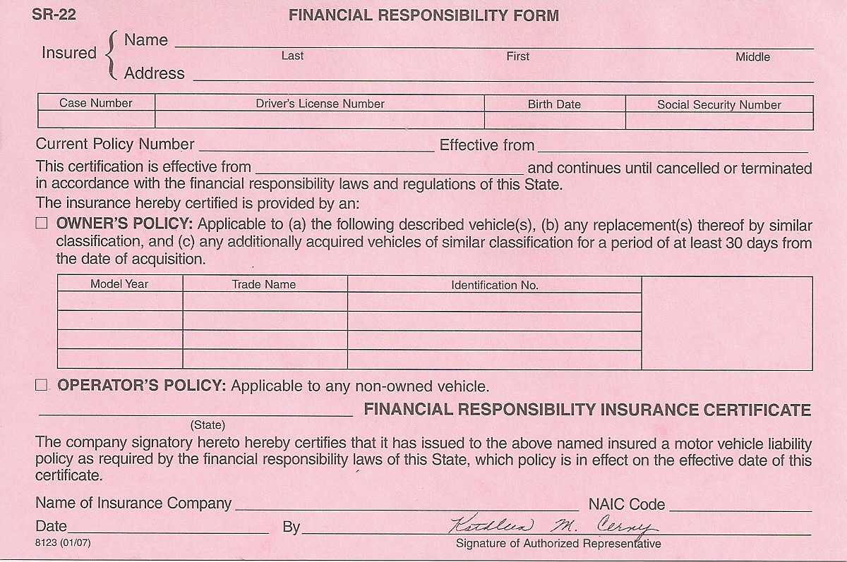 Sr22 Insurance Form Tennessee
