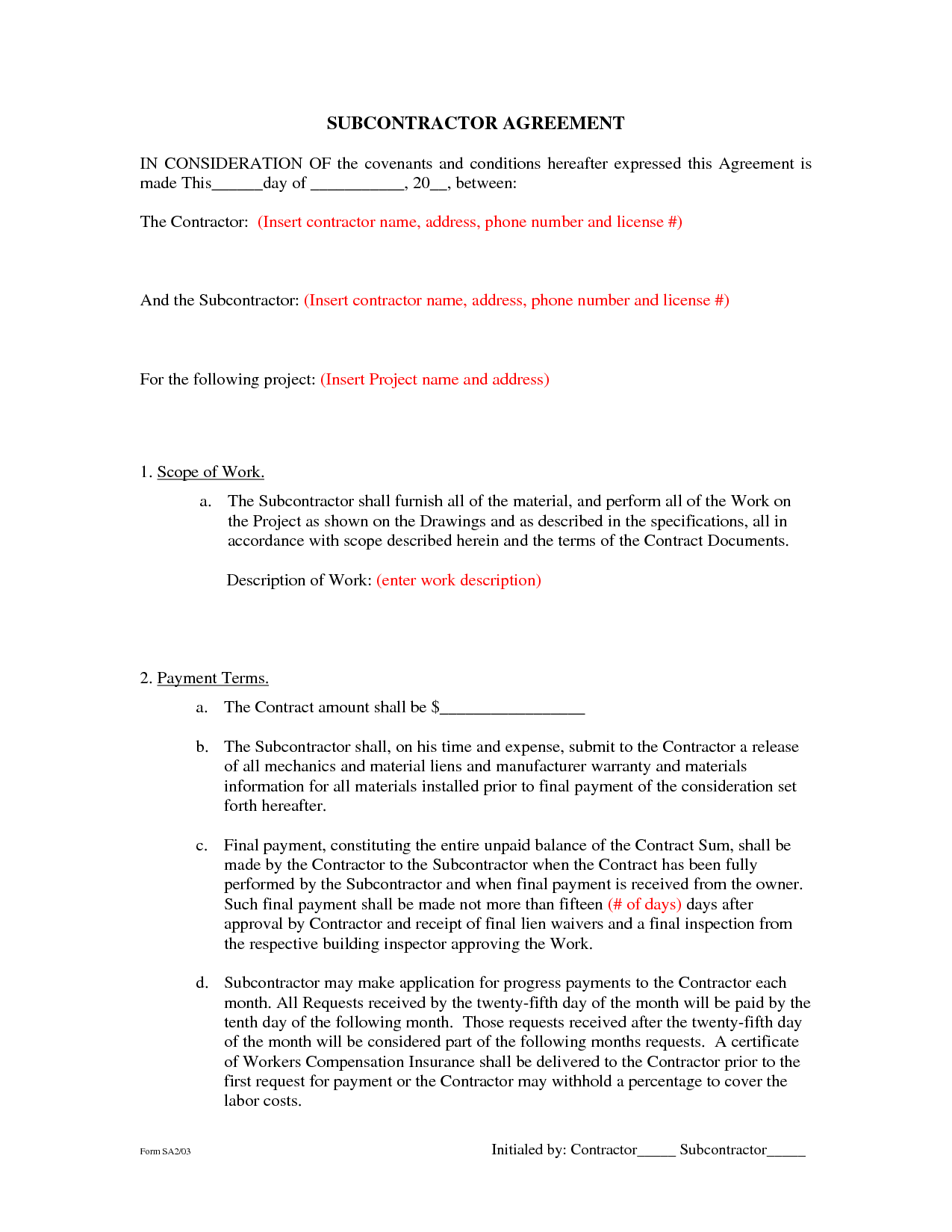 Standard Aia Contract Sample