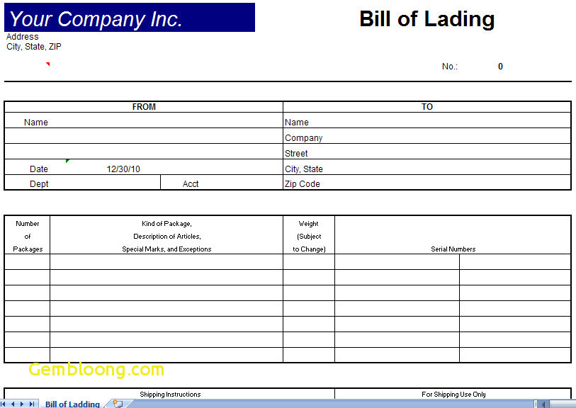Blank Bill Of Lading Pdf Inspirational Bill Lading Template Bill Lading Form Bill Lading Form