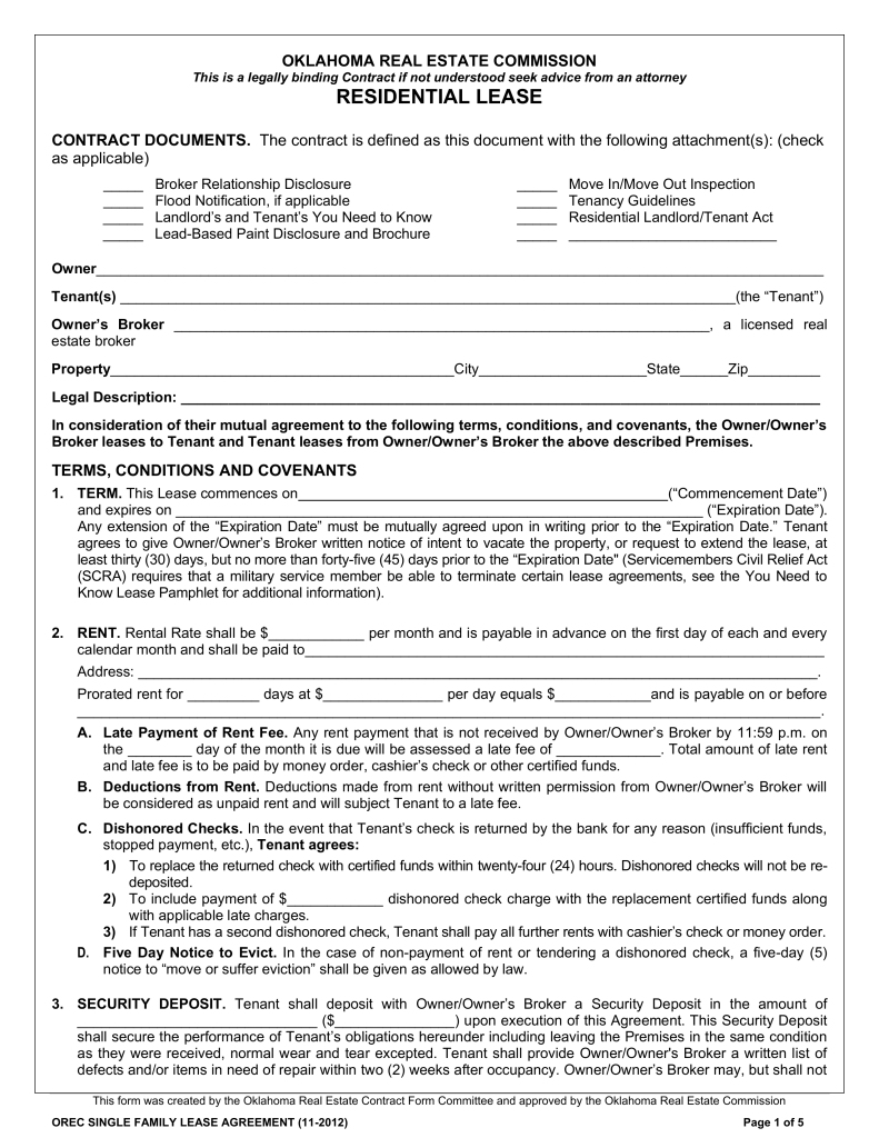 Standard Lease Agreement Form Florida