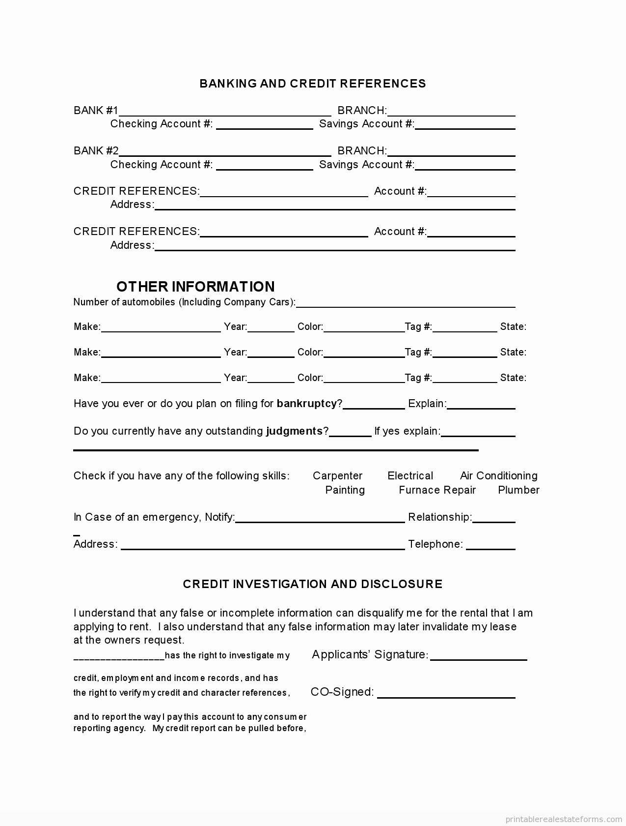 Free Rental Application Form Template Unique Rental Application Form California New Standard Rental Agreement