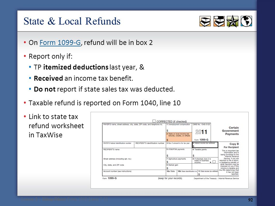 State Income Tax Refund Form 1099 G