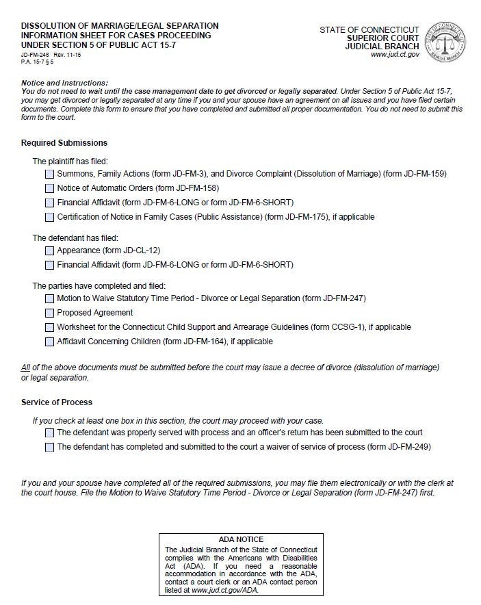 State Of Ct Uncontested Divorce Forms