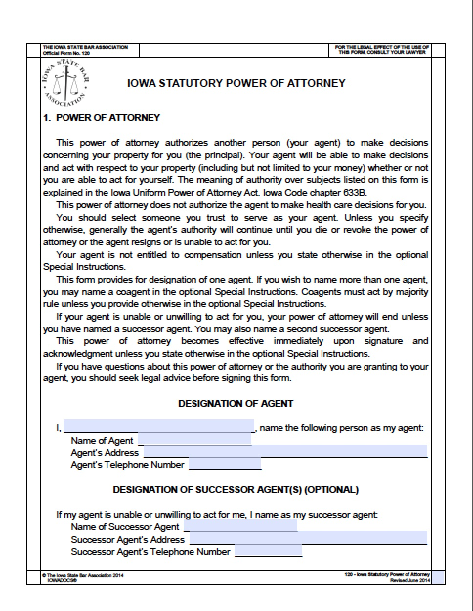 State Of Iowa Durable Power Of Attorney Form
