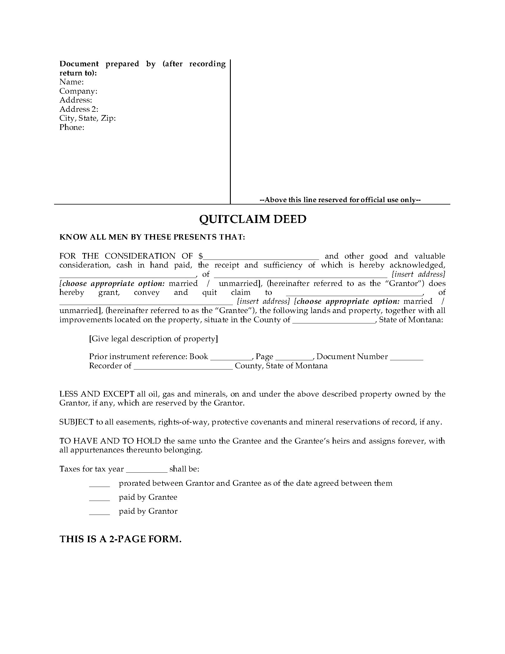 State Of Montana Quit Claim Deed Form