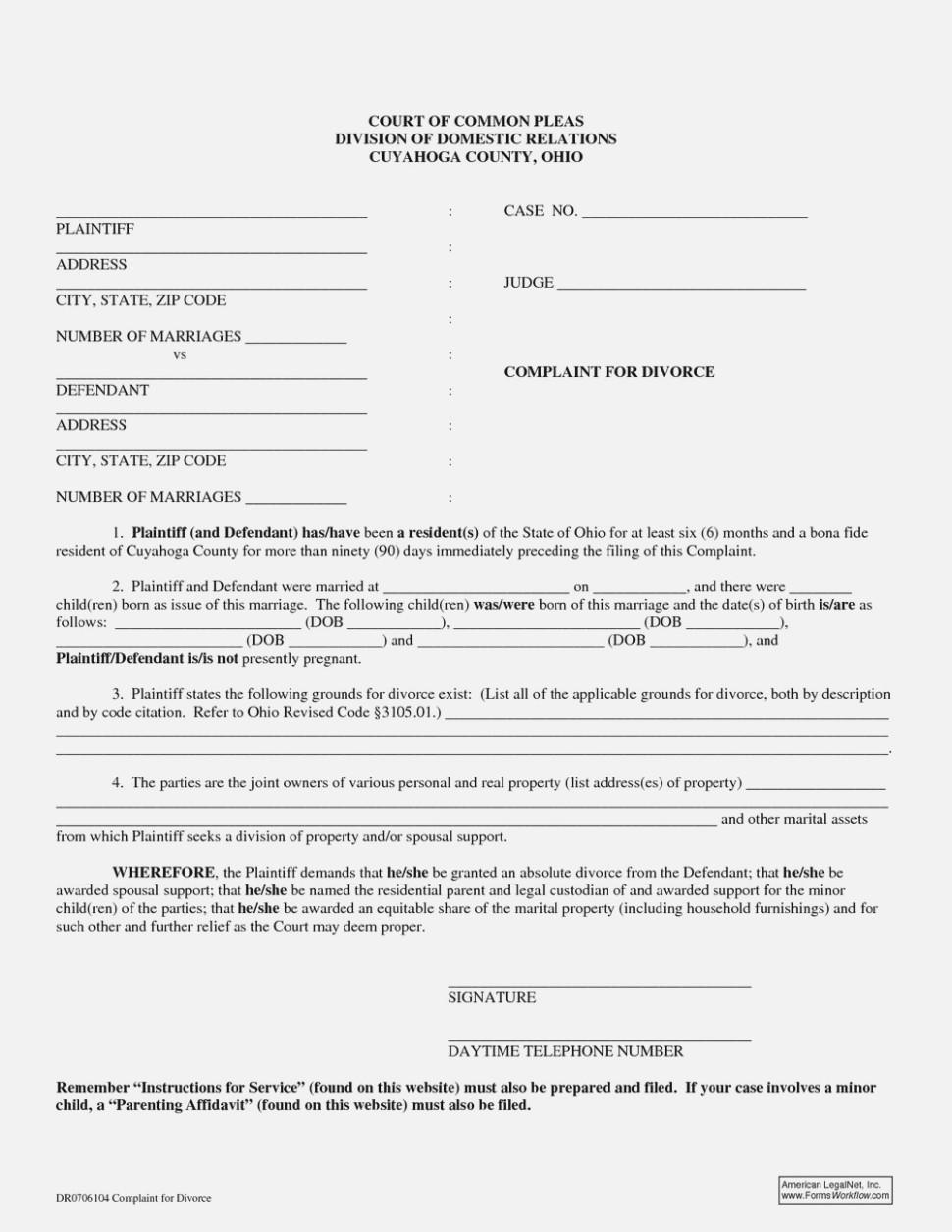 State Of Ohio Divorce Forms