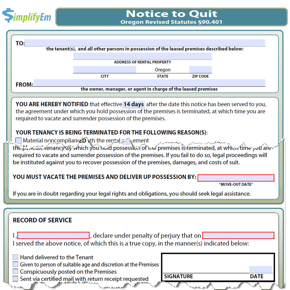 State Of Oregon Landlord Forms