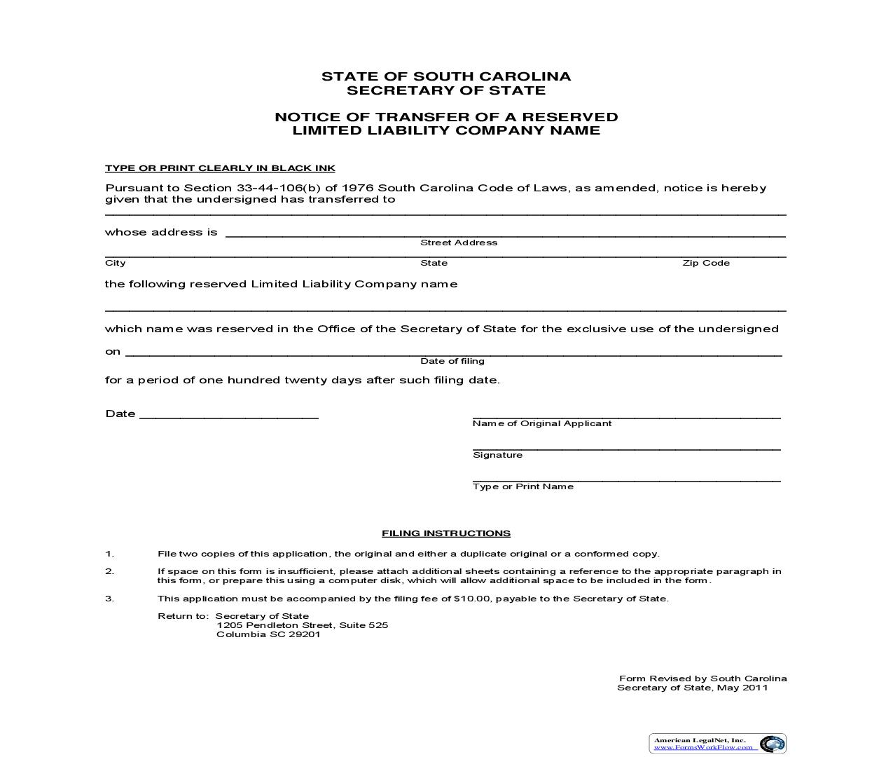 State Of South Carolina Llc Forms