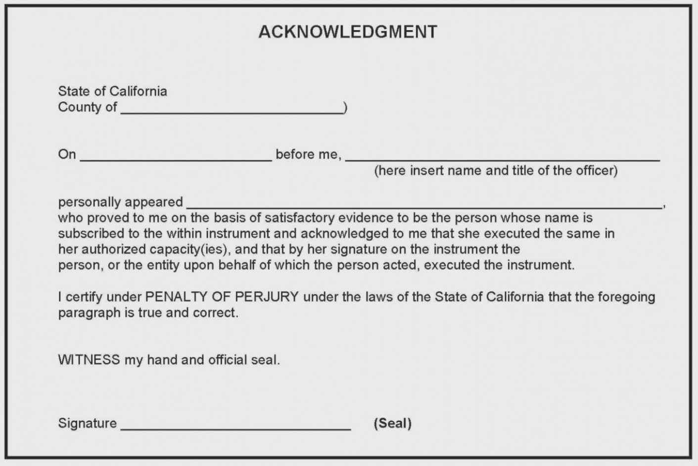State Of Texas Notary Acknowledgement Form