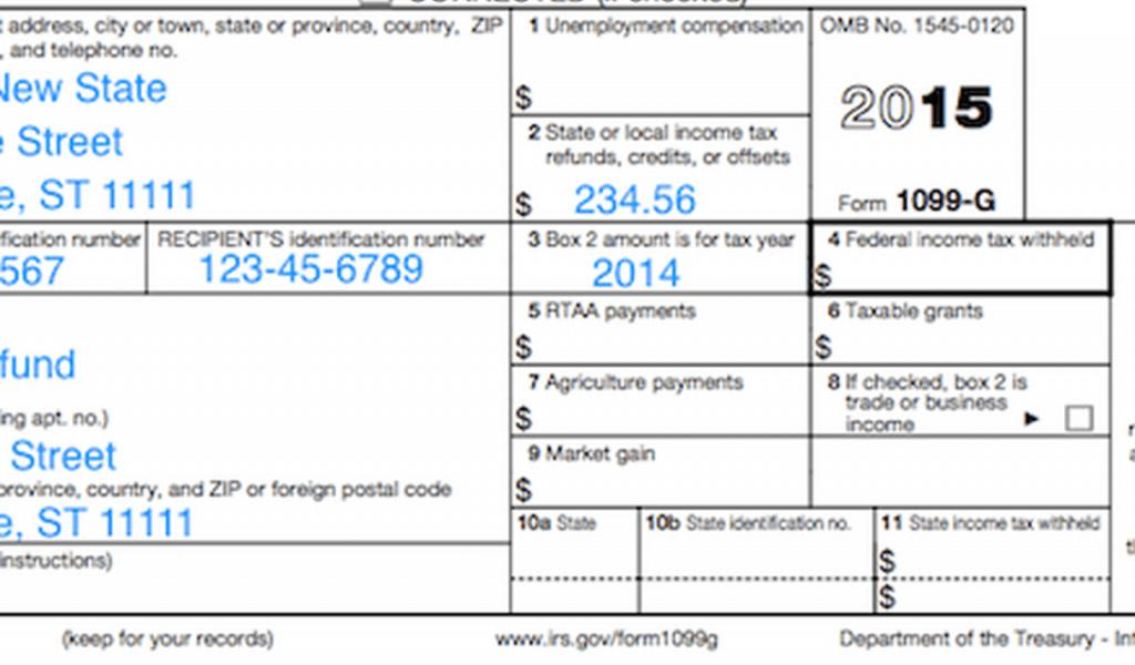 State Tax Refund Form 1099