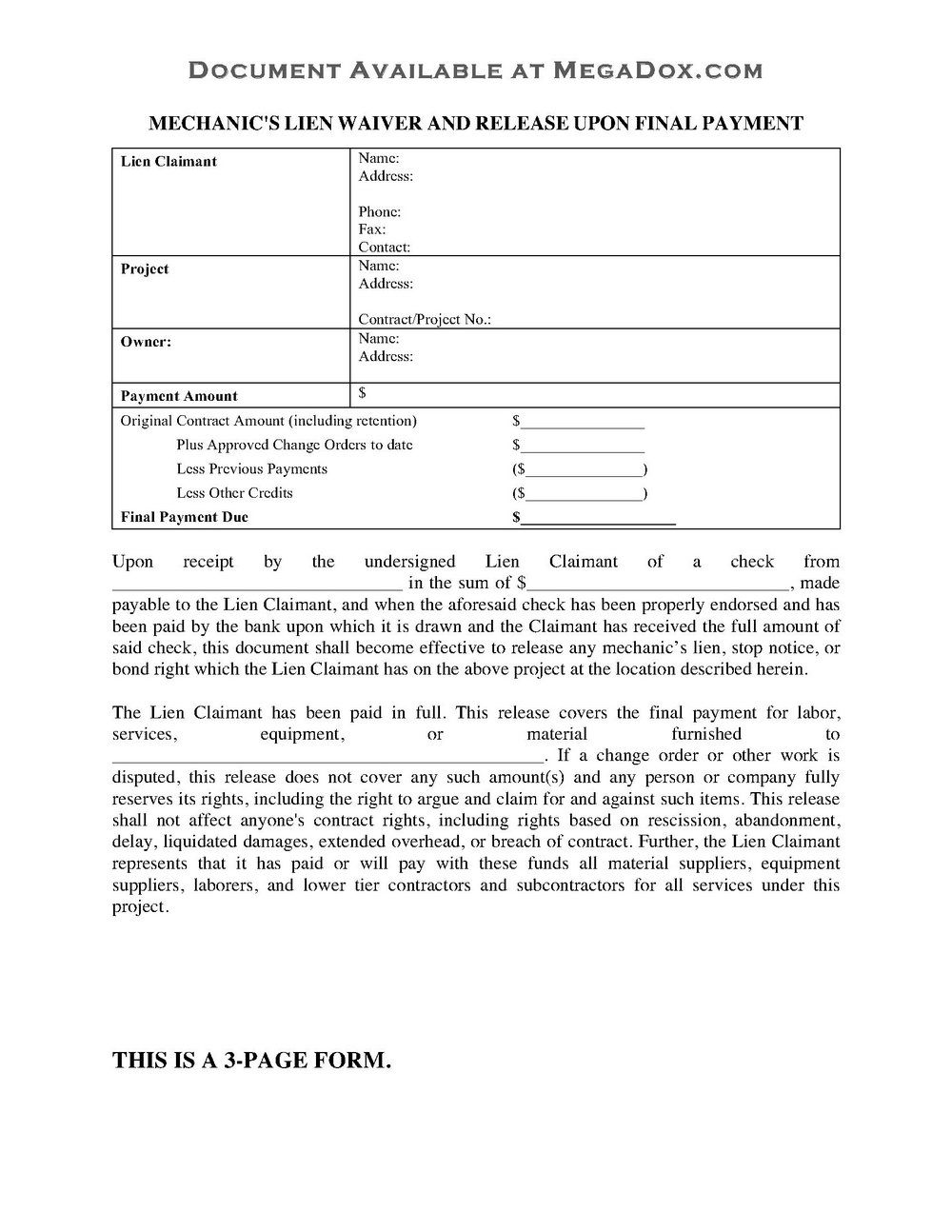 Subcontractor Partial Lien Waiver Form